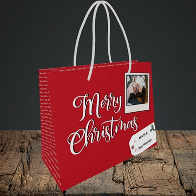 Picture of 2. A Merry Christmas Polaroid, Christmas Design, Small Landscape Gift Bag