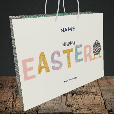 Picture of Happy Walking Egg(Without Photo), Easter Design, Medium Landscape Gift Bag