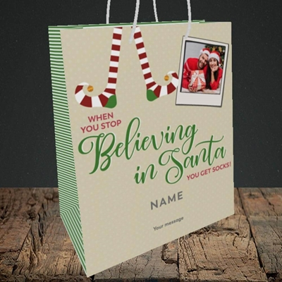 Picture of Believing In Santa, Christmas Design, Medium Portrait Gift Bag