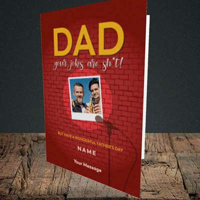 Picture of Dad Jokes, Father's Day Design, Portrait Greetings Card