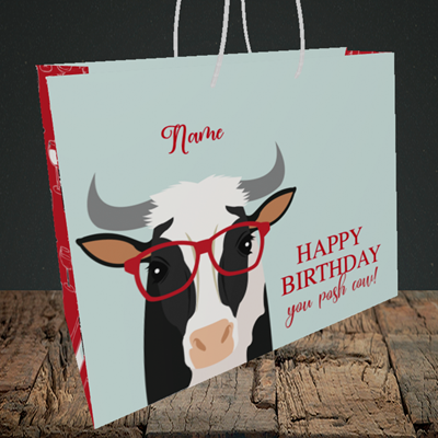 Picture of Cow, (Without Photo) Birthday Design, Medium Landscape Gift Bag