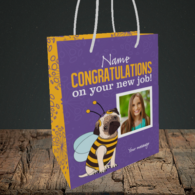 Picture of Bee, New Job Design, Small portrait Gift Bag