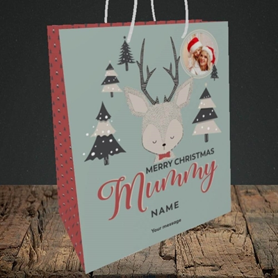 Picture of Mummy Deer, Christmas Design, Medium Portrait Gift Bag