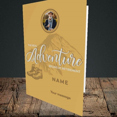 Picture of Adventure Begins, Retirement Design, Portrait Greetings Card