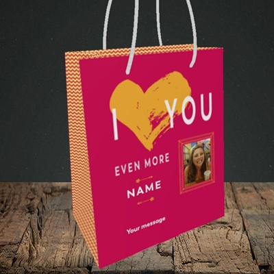 Picture of Love You Even More, Anniversary Design, Small Portrait Gift Bag