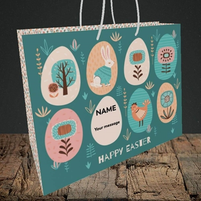 Picture of Easter Egg Farm(Without Photo), Easter Design, Medium Landscape Gift Bag