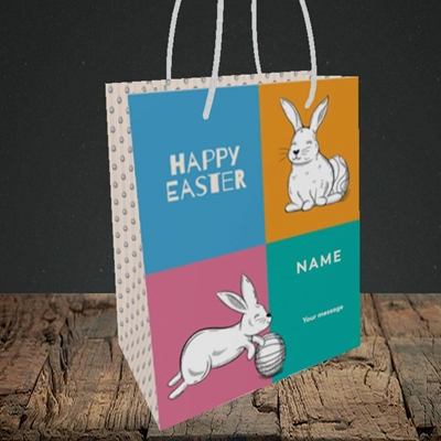 Picture of 4 Colour Bunnies(Without Photo), Easter Design, Small Portrait Gift Bag