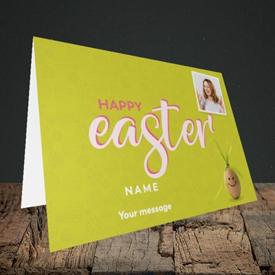 Picture of Bow Bunny Egg, Easter Design, Landscape Greetings Card