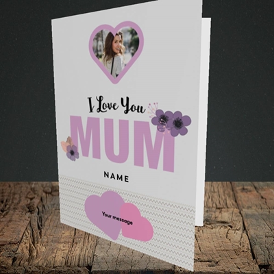 Picture of I Love You Mum, Mother's Day Design, Portrait Greetings Card