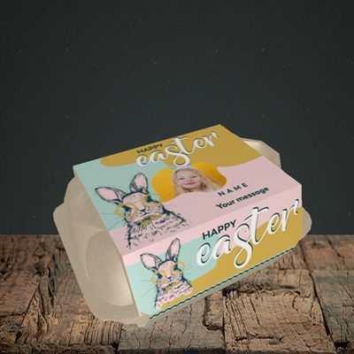 Picture of Bunny With Glasses, Easter Design, 6 Egg Box