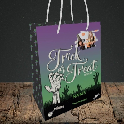 Picture of Trick Or Treat Repeat, Halloween Design, Small Portrait Gift Bag
