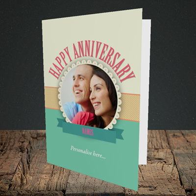 Picture of Roses, Anniversary Design, Portrait Greetings Card