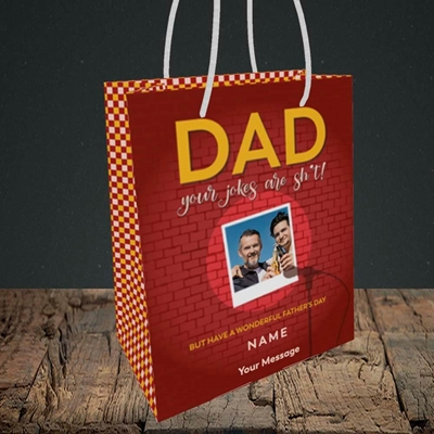 Picture of Dad Jokes, Father's Day Design, Small Portrait Gift Bag