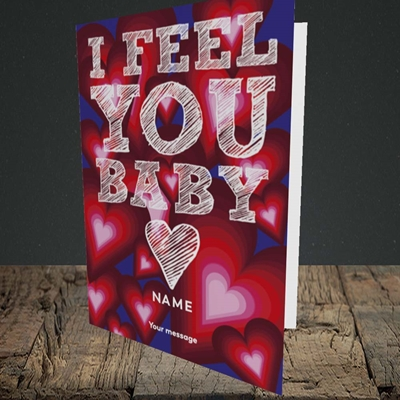 Picture of I Feel You Baby(Without Photo), Valentine's Design, Portrait Greetings Card