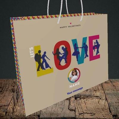 Picture of Let's Love Let's Dance, Valentine's Design, Medium Landscape Gift Bag