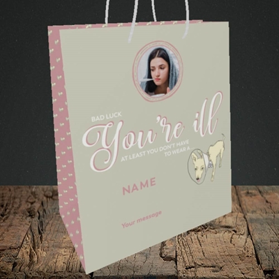 Picture of Neck Cone, Get Well Soon Design, Medium Portrait Gift Bag