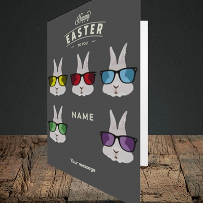 Picture of Hipster Bunnies(Without Photo), Easter Design, Portrait Greetings Card