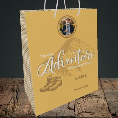 Picture of Adventure Begins, Retirement Design, Medium Portrait Gift Bag