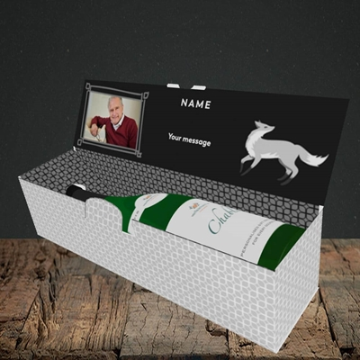 Picture of Silver Fox, Birthday Design, Lay-down Bottle Box
