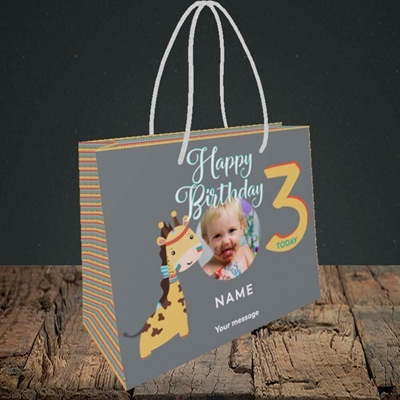 Picture of Giraffe's 3rd, Birthday Design, Small Landscape Gift Bag