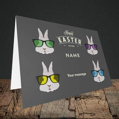 Picture of Hipster Bunnies(Without Photo), Easter Design, Landscape Greetings Card