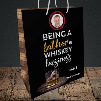 Picture of Whiskey Business, Father's Day Design, Medium Portrait Gift Bag