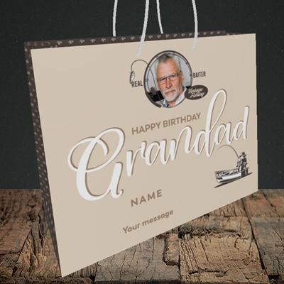 Picture of Grandad Fishing, Birthday Design, Medium Landscape Gift Bag