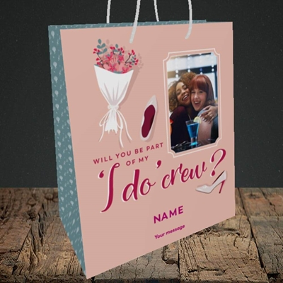 Picture of I Do Crew, Wedding Design, Medium Portrait Gift Bag