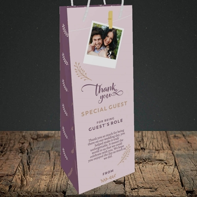 Picture of Peg & Polaroid Mauve SG, Wedding Design SG, Wedding Design, Bottle Bag