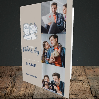 Picture of Father & Daughter, Father's Day Design, Portrait Greetings Card