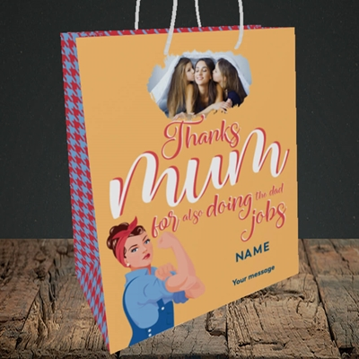 Picture of Dad Jobs, Mother's Day Design, Medium Portrait Gift Bag