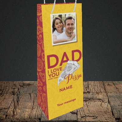 Picture of Love You More Than Pizza, Father's Day Design, Bottle Bag