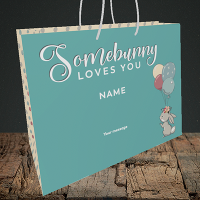 Picture of Somebunny Loves You, (Without Photo) Easter Design, Medium Landscape Gift Bag