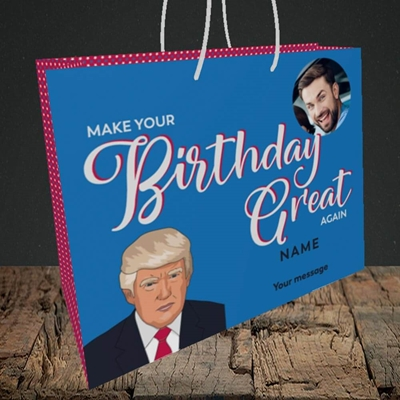 Picture of A Trump Birthday, Birthday Design, Medium Landscape Gift Bag