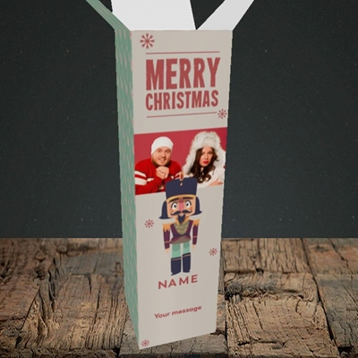 Picture of Merry Nutcracker, Christmas Design, Upright Bottle Box