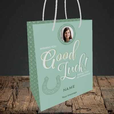 Picture of Horseshoe, Good Luck Design, Small Portrait Gift Bag