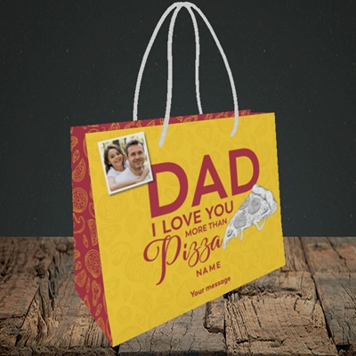 Picture of Love You More Than Pizza, Father's Day Design, Small Landscape Gift Bag