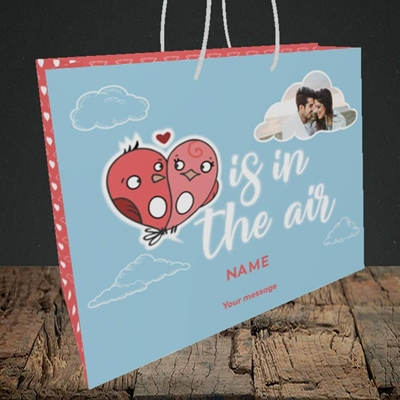 Picture of Love Is In The Air, Valentine's Design, Medium Landscape Gift Bag