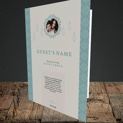 Picture of Moroccan Influences Teal SG, Wedding Design, Portrait Greetings Card