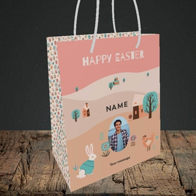 Picture of Easter Farm, Easter Design, Small Portrait Gift Bag