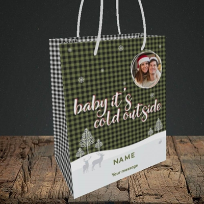 Picture of Cold Outside, Christmas Design, Small Portrait Gift Bag