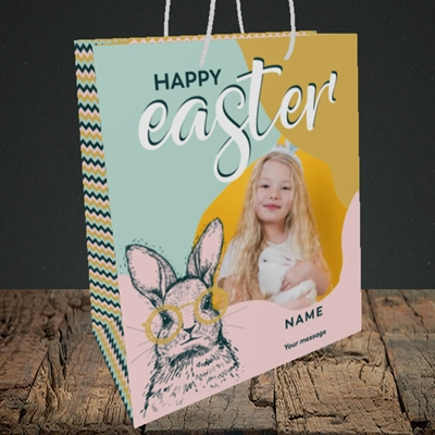 Picture of Bunny With Glasses, Easter Design, Medium Portrait Gift Bag
