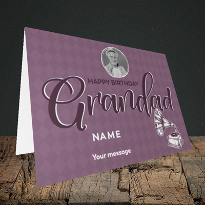 Picture of Grandad Gramophone, Birthday Design, Landscape Greetings Card