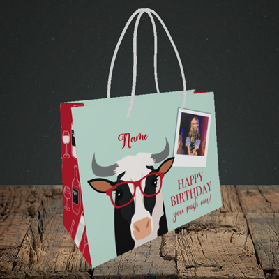 Picture of Cow, Birthday Design, Small Landscape Gift Bag