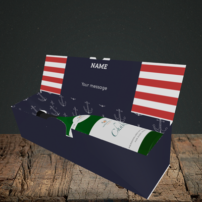 Picture of Nautical, (Without Photo) Birthday Design, Lay-down Bottle Box