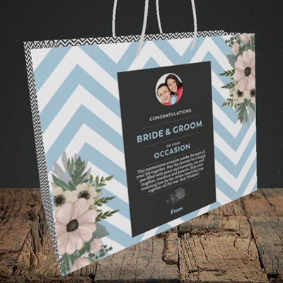 Picture of Zigzag Blue B&G, Wedding Design, Medium Landscape Gift Bag