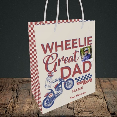 Picture of Wheelie Great Dad, Father's Day Design, Small Portrait Gift Bag