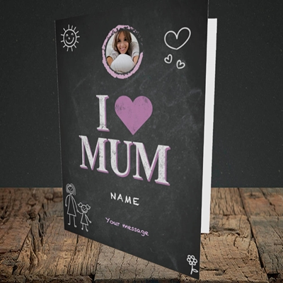 Picture of I Love Mum (Chalk Board), Portrait Greetings Card