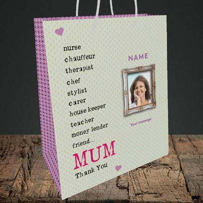 Picture of Mum, Thank you, Medium Portrait Gift Bag