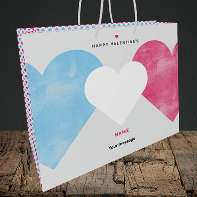 Picture of Joined Hearts (textured)(Without Photo), Valentine's Design, Medium Landscape Gift Bag